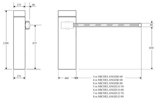 Габаритные размеры автоматического шлагбаума BFT MICHELANGELO 60