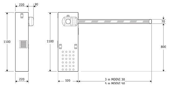 Габаритные размеры автоматического шлагбаума BFT MOOVI 30