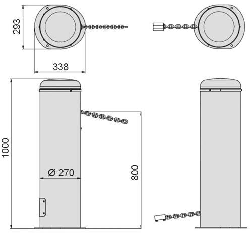 Габаритные и монтажные размеры, чтобы купить цепной барьер PRIVEE KIT